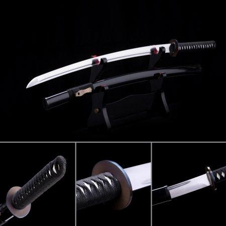 Handmade T10 Carbon Steel Real Japanese Samurai Katana Swords With Black Scabbard And Iron Tsuba