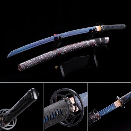 Handmade High Manganese Steel Blue Blade Japanese Katana Swords With Multi-colored Scabbard