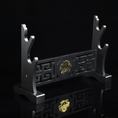 2 Tiers Katana Sword Stand Holder Display Two-layer Rack Base Black Lacquered Wood