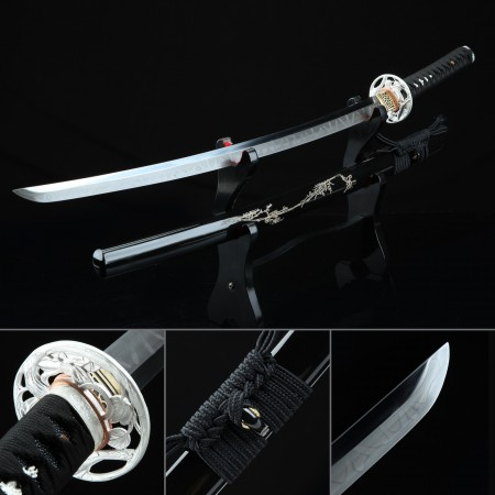 Full Tang Sword, Handmade Japanese Katana Sword T10 Folded Clay Tempered Steel With Black Scabbard