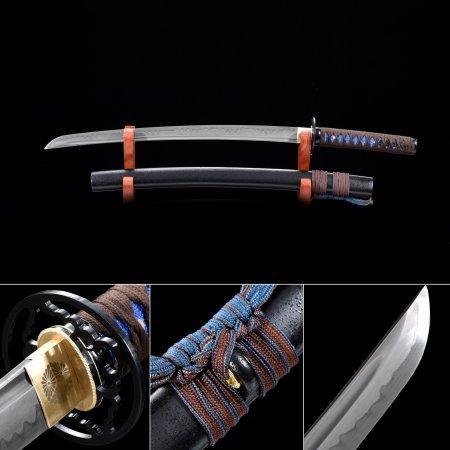 Handmade T10 Carbon Steel Real Hamon Japanese Wakizashi Sword With Black Scabbard And Round Tsuba