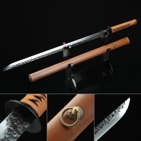 Handmade High Manganese Steel Full Tang Real Japanese Ninjato Ninja Sword With Brown Scabbard