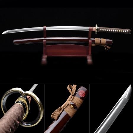 Handmade High Manganese Steel Red Saya And Round Tsuba Theme Real Katana Samurai Swords