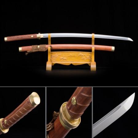 Handmade Pattern Steel Brown Saya Sharpened Real Japanese Katana Samurai Swords