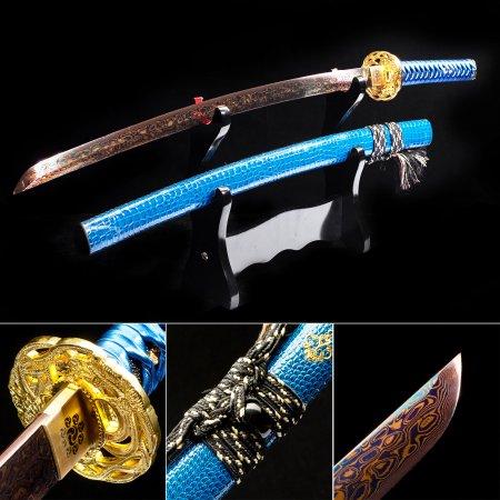 Handmade Pattern Steel Red Blade Real Japanese Katana Samurai Swords With Blue Leather Scabbard