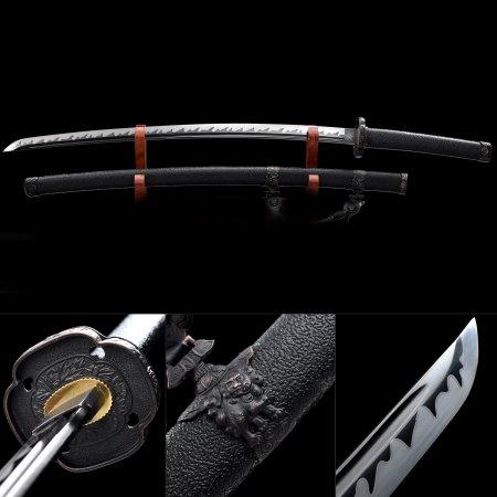 Handmade High Manganese Steel Black Blade Real Japanese Samurai Katana Sword With Black Scabbard