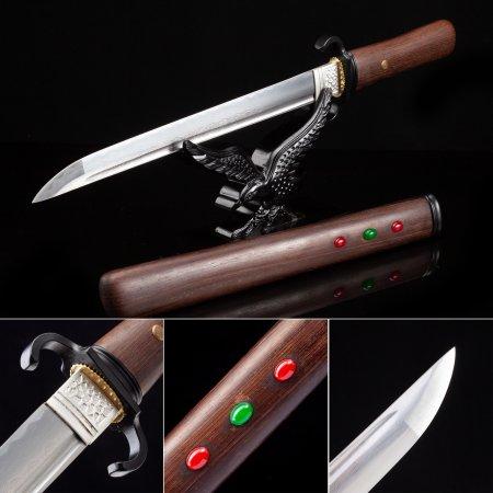 Handmade High Manganese Steel Sharpening Japanese Hamidashi Tanto Sword With Natural Scabbard