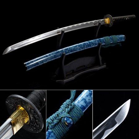 Handmade High Carbon Steel Sharpening Blade Japanese Katana Samurai Swords With Blue Scabbard