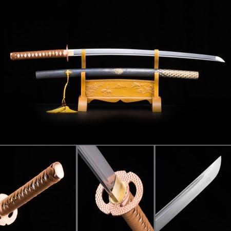 Handmade Pattern Steel Copper Saya Full Tang Sharpened Japanese Katana Samurai Swords