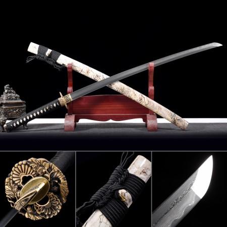 Handmade Folded Steel Real Hamon Real Copper Flower Theme Tsuba Japanese Katana Swords
