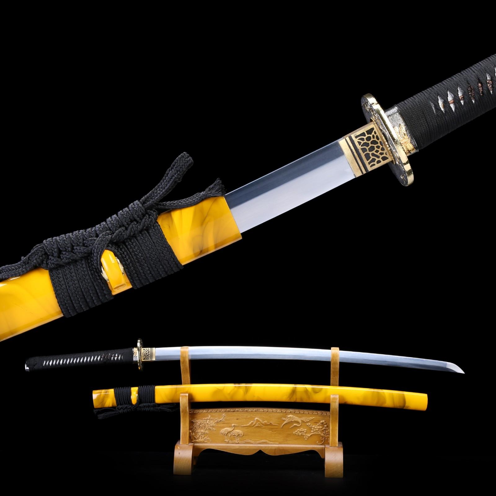 Handmade Full Tang Spring Steel Yellow Saya Katana Japanese Samurai Swords