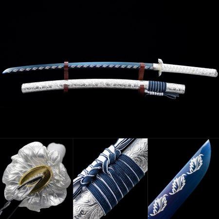 Decorative Swords, Handmade Blue Blade Katana Sword With Flower Tsuba