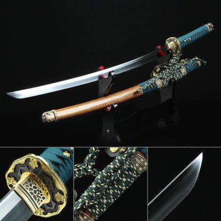 Handmade Spring Steel Flower Tsuba Real Japanese Katana Samurai Sword With Orange Scabbard