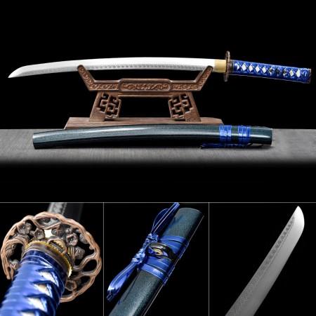 Handmade Japanese Samurai Sword High Manganese Steel With Blue Scabbard And Flower Tsuba