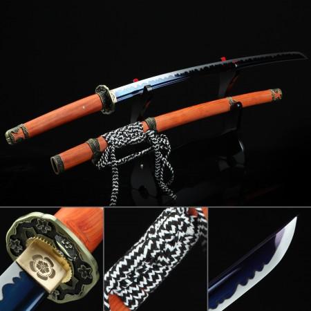 Handmade 1045 Carbon Steel Blue Blade Real Japanese Katana Samurai Swords With Rosewood Scabbard