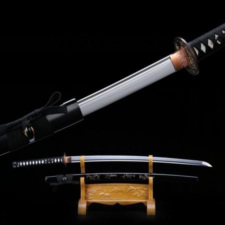 Black Samurai Sword,handmade Full Tang 1060 High Manganese Steel Japanese Katana
