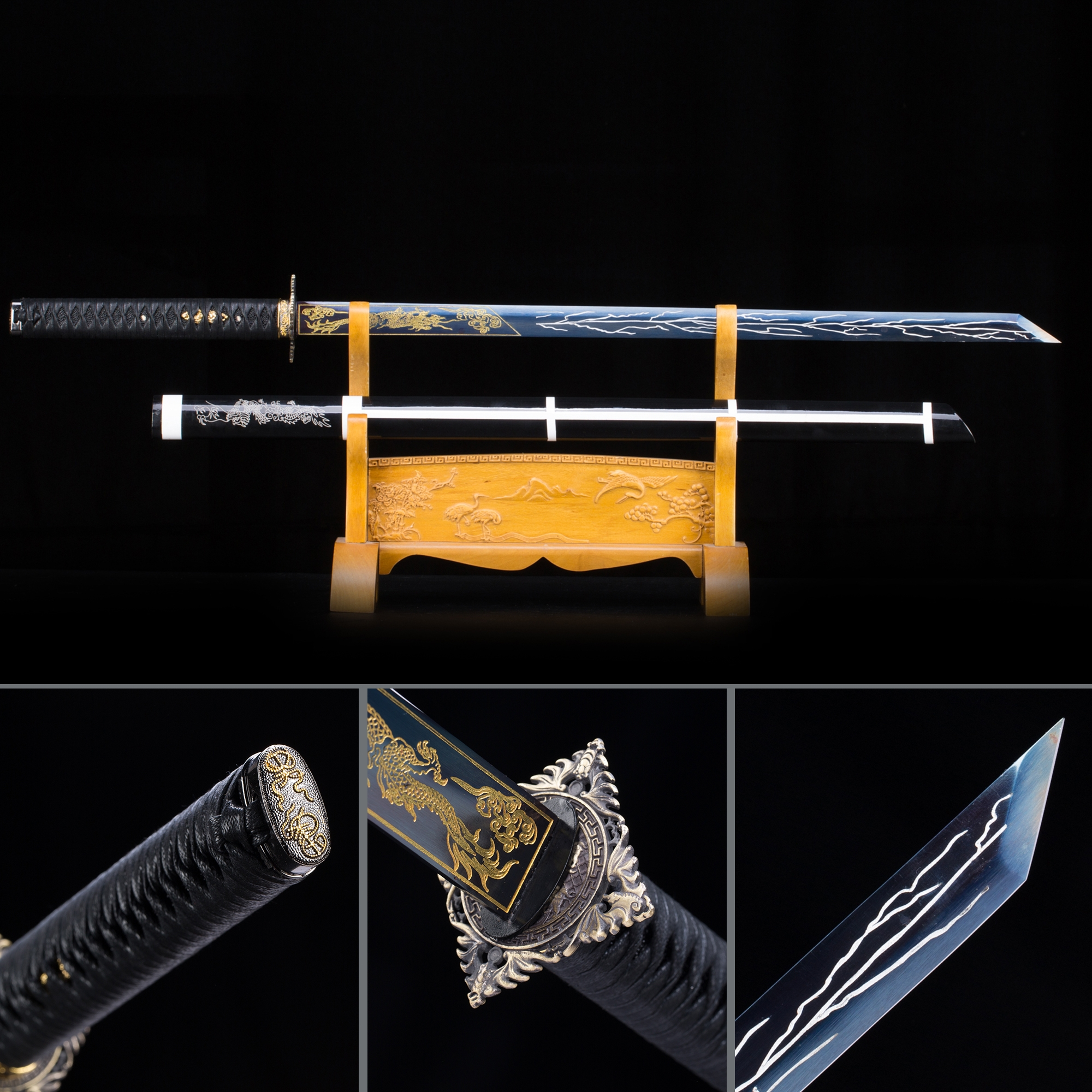 Handmade Blue Straight Blade Chokuto Japanese Ninjato Ninja Swords With Square Guard Tsuba