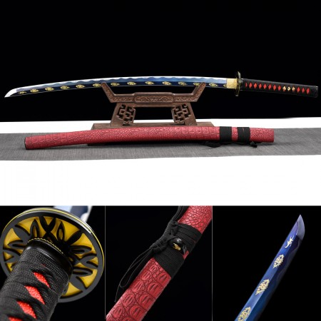 Handmade Japanese Katana Sword High Manganese Steel With Blue Blade And Red Scabbard