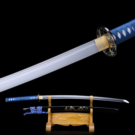 Handmade Blue Dragon Tsuba Spring Steel Real Katana Japanese Samurai Swords