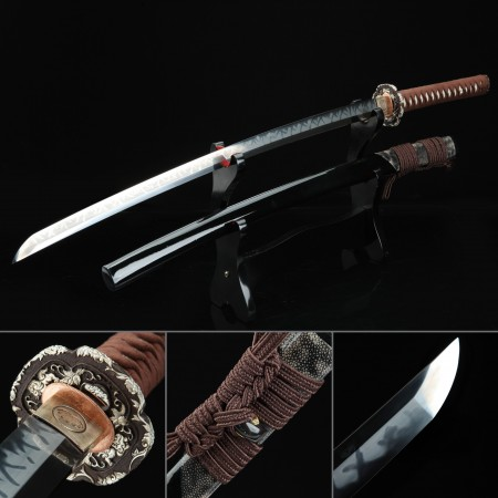 Battle Ready Sword, Authentic Japanese Katana T10 Carbon Steel Hand Forge Sturdy Tactical Swords