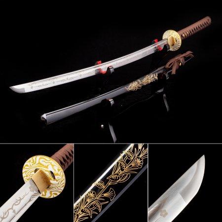 Handmade High Manganese Steel Real Japanese Katana Samurai Swords With Flower Scabbard