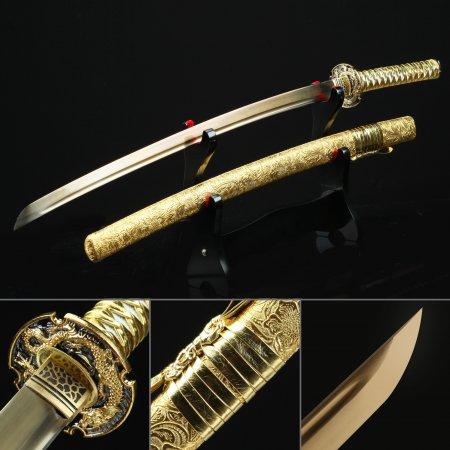 Golden Katana, Handmade Japanese Katana Sword High Manganese Steel With Golden Blade