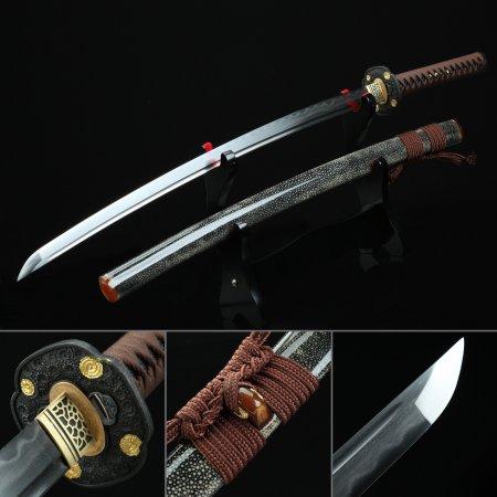 High-performance Pattern Steel Authentic Hamon Japanese Katana Samurai Sword With Rayskin Scabbard