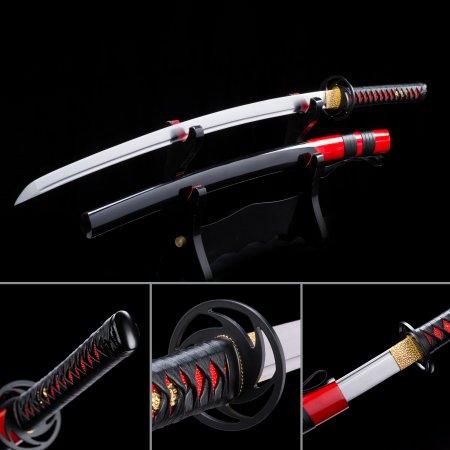 Handmade High Manganese Steel Japanese Samurai Katana Swords With Black Scabbard And Iron Tsuba