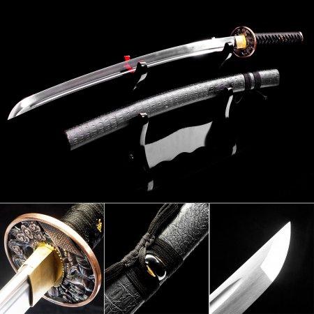 Handmade High Manganese Steel Japanese Katana Swords With Black Leather Scabbard And Copper Tsuba