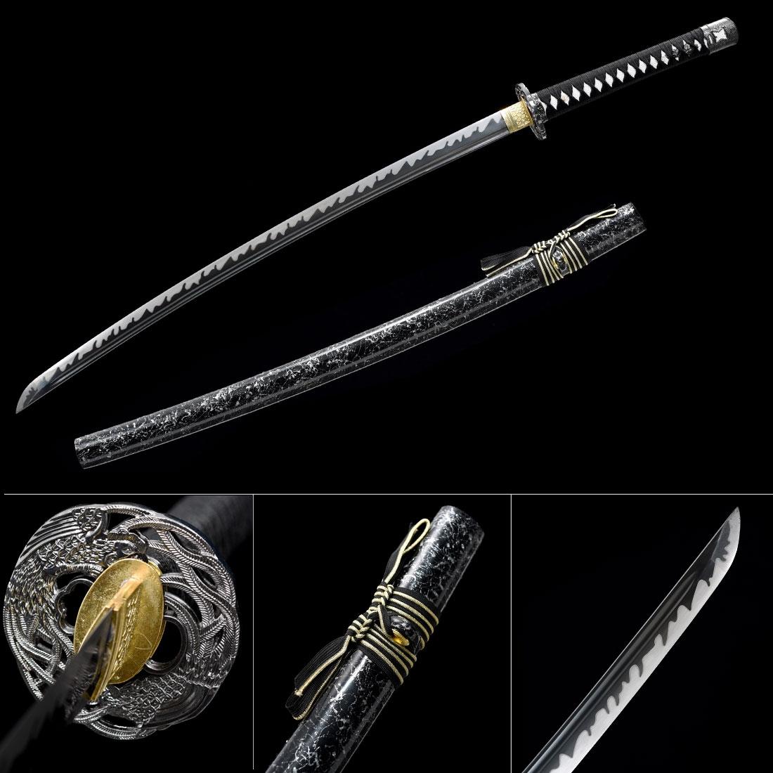 Black Blade Katana Sword, Handmade Japanese Katana Samurai Swords With Black Scabbard