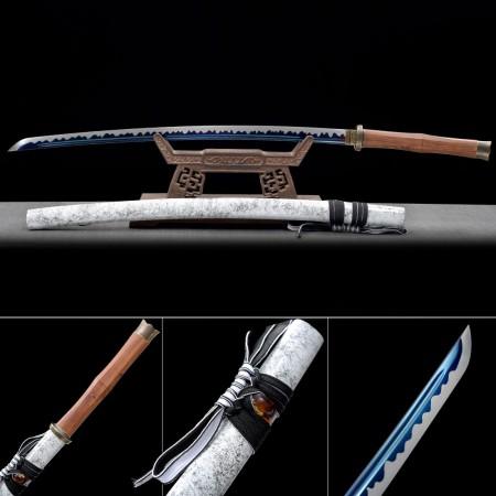 Handmade High Manganese Steel Blue Blade And White Saya Real Japanese Katana Samurai Swords