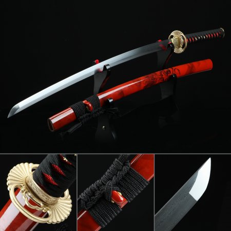 High-performance Pattern Steel Sunflower Tsuba Real Japanese Katana Samurai Sword With Red Scabbard