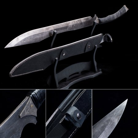 Handmade Pattern Steel Fixed Blade Fantasy Zombie Hunting Sword Dagger With Black Leather Scabbard