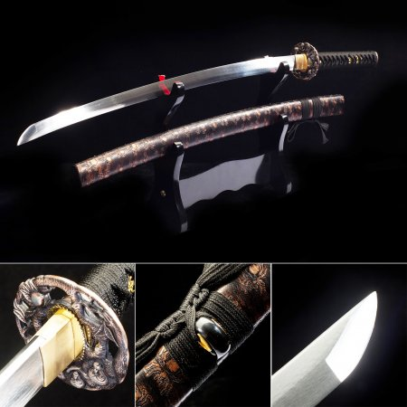 Handmade Japanese Samurai Sword High Manganese Steel With Brown Spider Scabbard And Copper Tsuba
