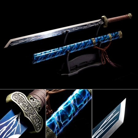 Handmade High Manganese Steel Blue Blade Chokuto Japanese Ninjato Ninja Swords With Blue Scabbard