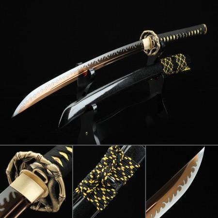 Handmade High Manganese Steel Gold Blade Japanese Wakizashi Sword With Black Scabbard