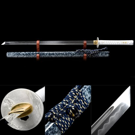 Handmade T10 Carbon Steel Real Hamon Japanese Ninjato Ninja Swords With Marble Scabbard
