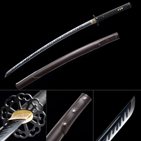 Handmade High Manganese Steel Brown Leather Saya Full Tang Real Japanese Katana Samurai Swords
