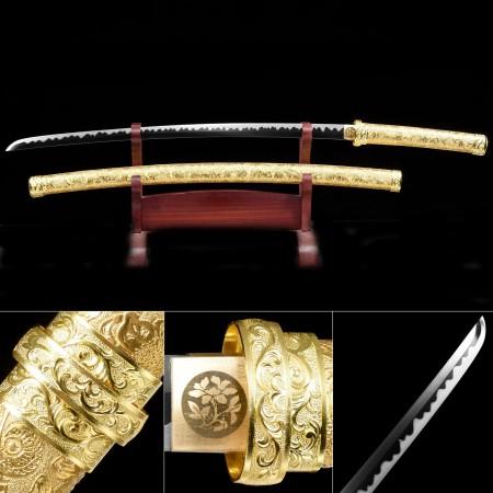 Modern Black And Golden Katana, Japanese Katana Sword High Manganese Steel With Golden Scabbard
