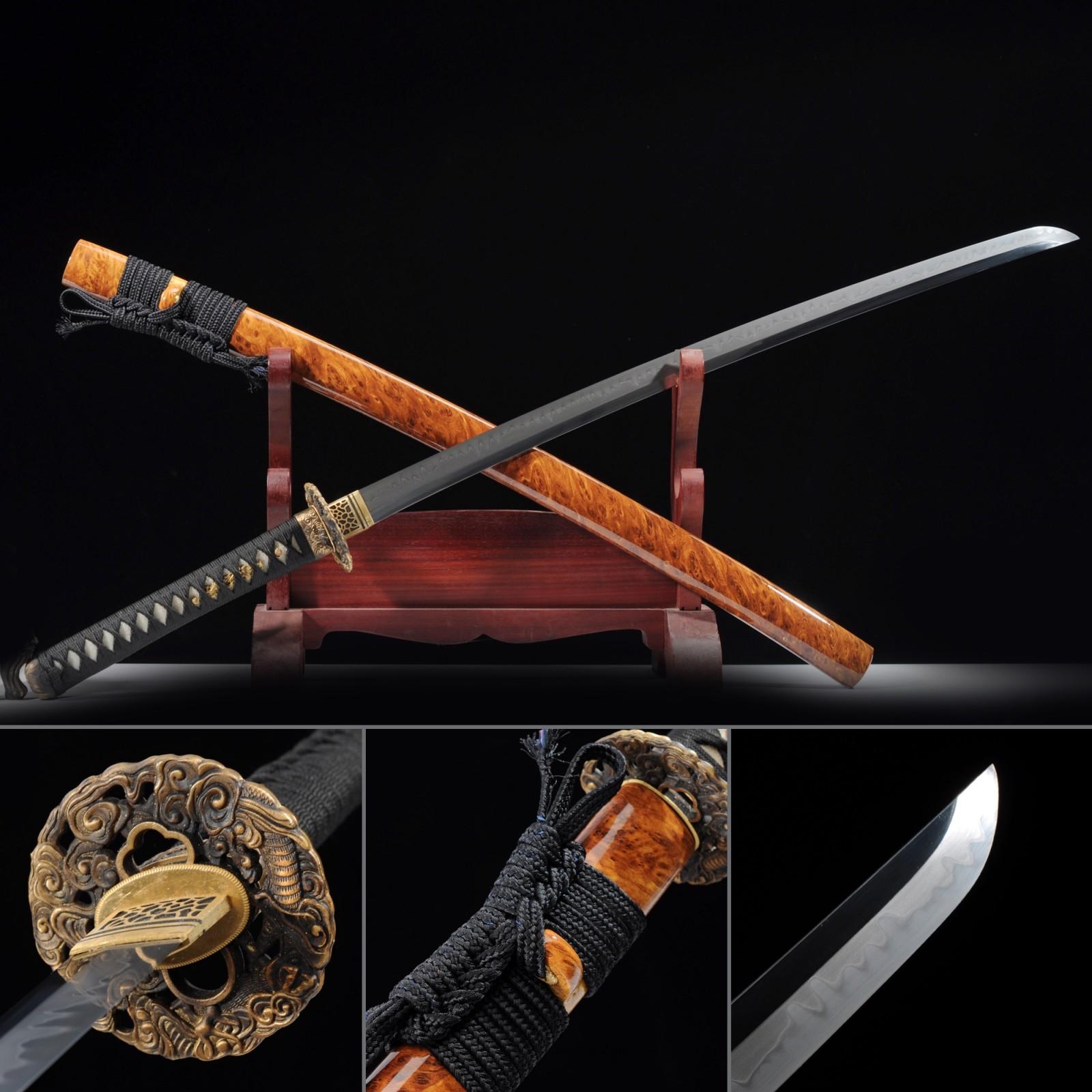 Hamon Katana, Japanese Katana Sword T10 Folded Clay Tempered Steel With Orange Scabbard
