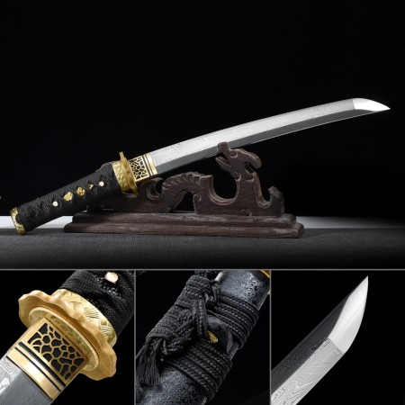 Handmade Pattern Steel Full Tang Real Japanese Tanto Sword With Black Scabbard