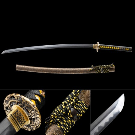 Yellow Bronze Theme Handmade Full Tang Real Japanese Katana Samurai Swords