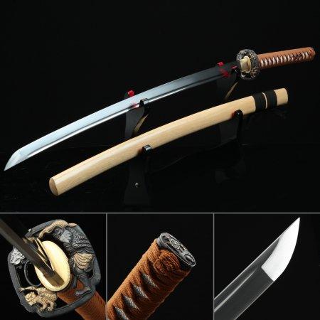 Manganese Steel Real Katana Japanese Samurai Swords With Natural Wood Scabbard