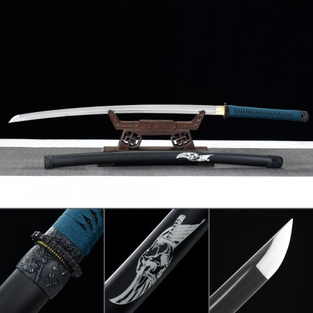 Handmade 1045 Carbon Steel Real Japanese Katana Samurai Swords With Black Scabbard