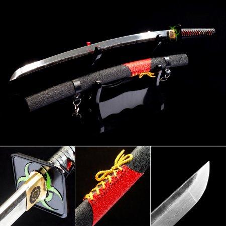 Handmade Japanese Katana Samurai Sword With Black Fluorescence Scabbard And Square Guard Tsuba