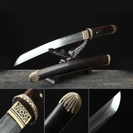 Handmade Pattern Steel Real Hamon Japanese Tanto Sword With Brown Scabbard