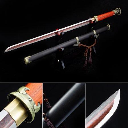 Handmade Pattern Steel Red Blade Japanese Ninjato Ninja Swords With Black Ebony Scabbard