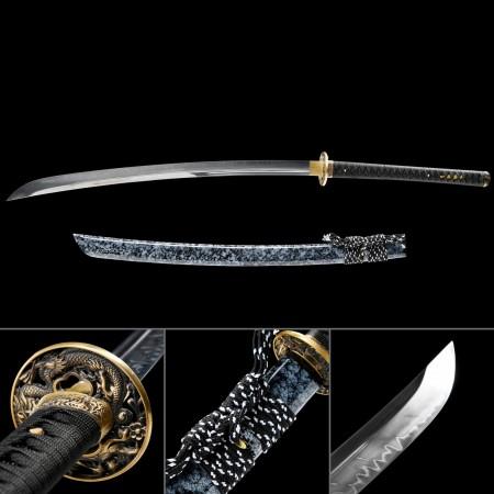 Handmade Dragon Tsuba Real Hamon Granite Style Scabbard Naginata Samurai Swords