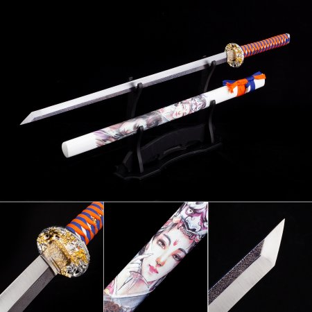 Handmade 1045 Carbon Steel Straight Blade Japanese Ninjato Ninjat Swords With White Scabbard