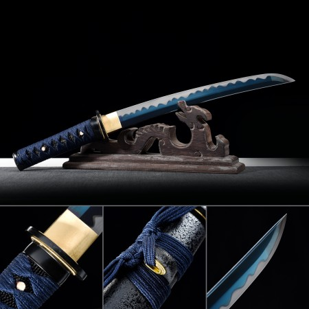 Handmade 1045 Carbon Steel Blue Blade Real Japanese Tanto Sword With Black Scabbard